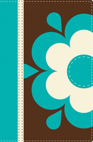 Biblia NVI Ultrafina Dos Tonos Cafe azul piel italiana flor